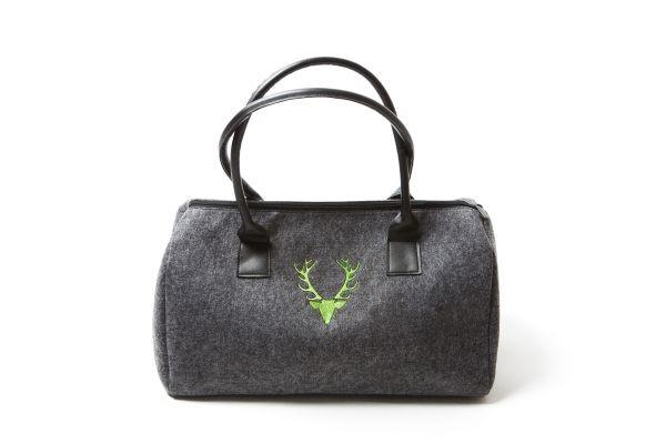 Damenhandtasche Dunkelgrau | Hirschkopf - hellgrün bestickt