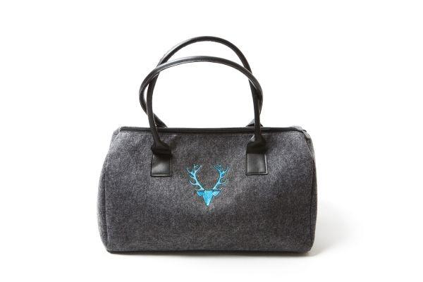 Damenhandtasche Dunkelgrau | Hirschkopf - hellblau bestickt
