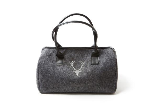 Damenhandtasche Dunkelgrau | Hirschkopf - silber bestickt
