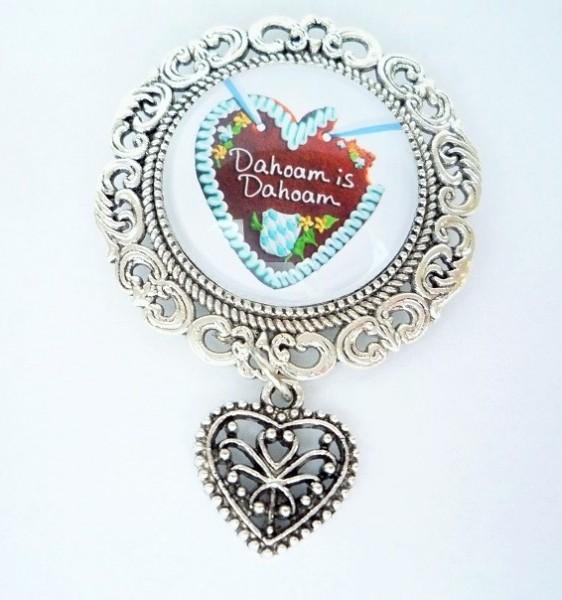 Brosche, antik-silber mit Herzanhänger