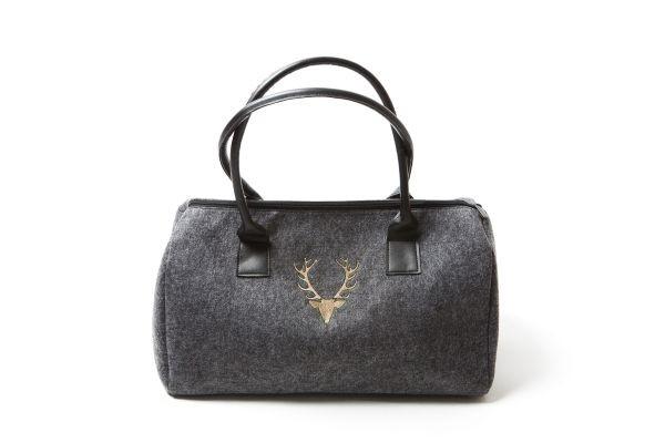 Damenhandtasche Dunkelgrau | Hirschkopf - hellbraun bestickt