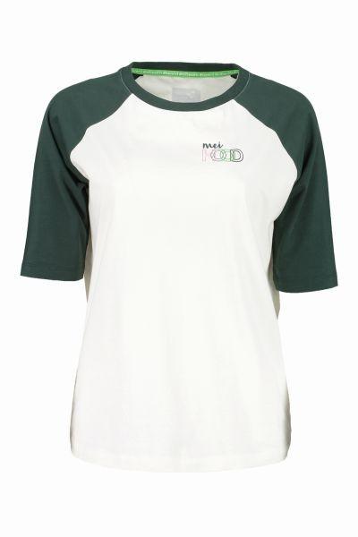 meiHood Frauen Shirt mit 3/4 Raglanärmeln in Offwhite/Tannengrün